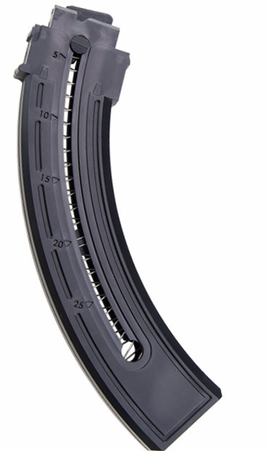 This is a factory Mossberg magazine for the Blaze (also fits Blaze-47) .22 lr, 25 round capacity.