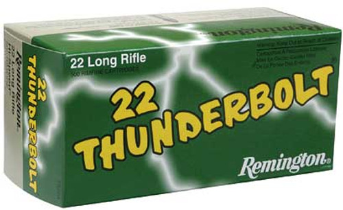 Remington Thunderbolt .22 long rifle 40 Grain Lead Round Nose, has 500 rounds per brick, manufactured by Remington.