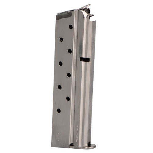 This is a 1911 magazine for any full-size 38 super, 9 round capacity, nickel finish, made by MEC-GAR.