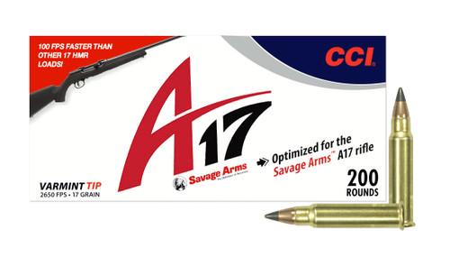 "CCI .17 HMR ""A17"" 17 Grain Tpped Varmint, has 200 rounds per box, manufactured by CCI."