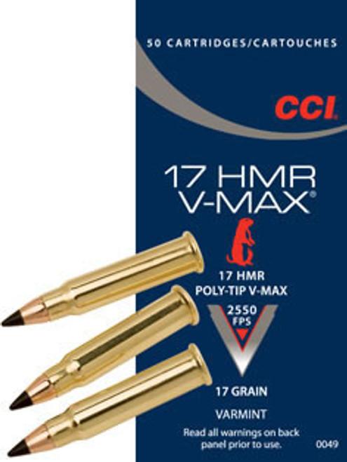 CCI .17 HMR  17 Grain V-Max, has 50 rounds per box, manufactured by CCI.