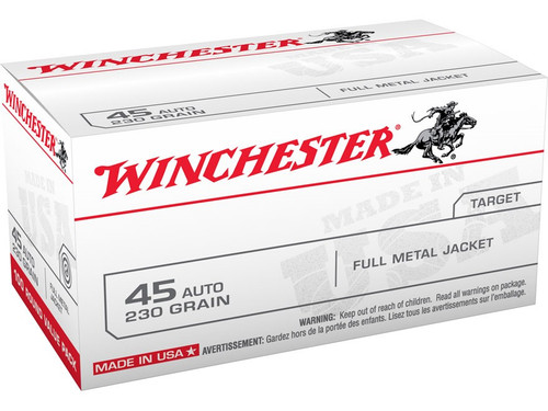 This is a new box of Winchester ammunition in the .45 acp caliber. They have 230 grain FMJ bullets and come 100 rounds per box.