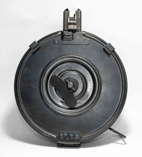 This is AK-47 drum 7.62 x 39mm, 75 round capacity, original Chinese Wind-Up Drum. Closed