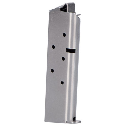 This is a Colt 1911 Government magazine for the  .380 acp, 7 round capacity, stainless steel, made by Metalform.