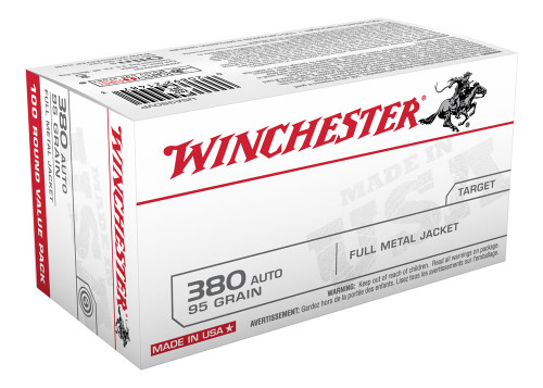 This is a new box of Winchester ammunition in the .380 acp caliber. They have 95 grain FMJ bullets and come 100 rounds per box.