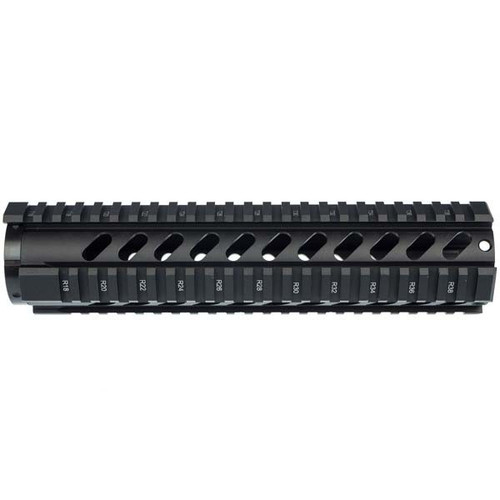 """This is an AR-15 free-float quad rail for the 10"""" carbine length. This rail in made out of anodized aluminum and is T-marked on all 4 sides. Comes with barrel nut."""