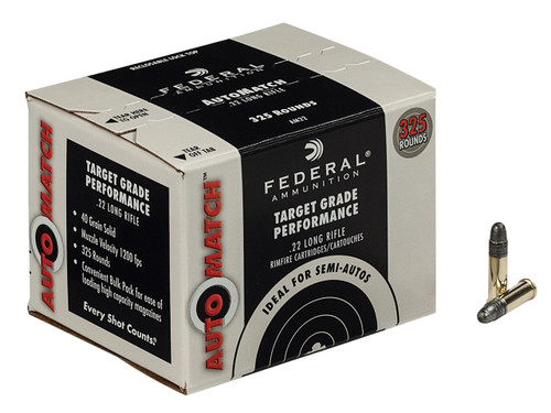 Federal AutoMatch .22 long rifle 40 Grain Lead Round Nose, has 325 rounds per box, manufactured by Federal.