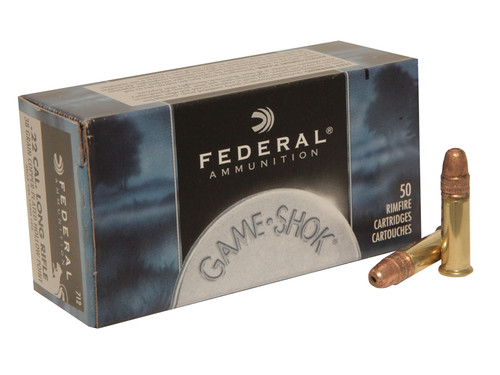 Federal Game-Shok .22 long rifle 38 Grain Copper-Plated Hollow Point, has 500 rounds per box, manufactured by Federal.