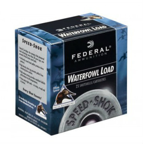 "Federal Premium Speed-Shok Waterfowl Load 12 gauge, 3"" shell loaded with 1-1/8 oz. of T-shot, 25 rounds per box, manufactured by Federal Cartridge Company."