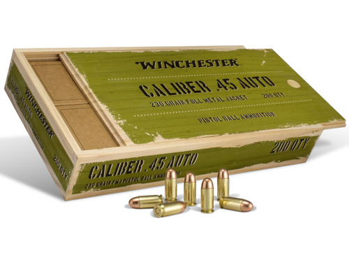 This is special Winchester Military Service Grade ammunition in the .45 acp caliber,  230 grain FMJ. This ammo comes in a limited, one time manufactured, collectible wood box.