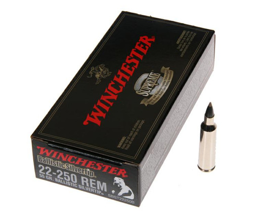 Winchester Ballistic Silvertip .22-250 55 Grain, has 20 rounds per box, manufactured by Winchester.