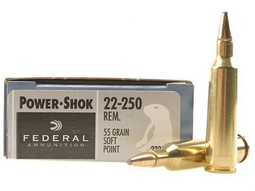 Federal Power-Shok .22-250 55 Grain soft point, has 20 rounds per box, manufactured by Federal Ammunition.