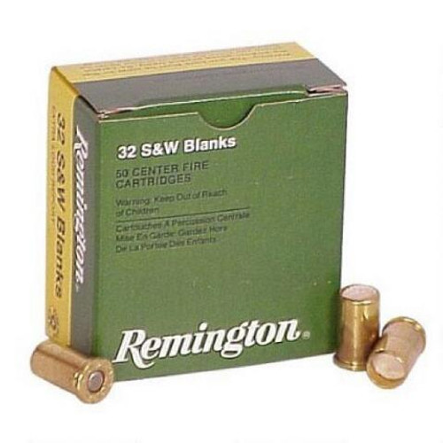 This is a box of Remington ammunition in the .32 Smith & Wesson caliber. These are blank rounds filled with smokeless powder for extra loud report and come 50 rounds per box.