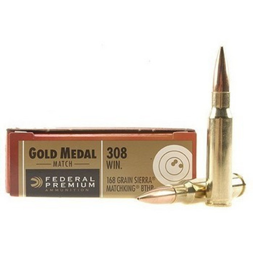 This is a box of Federal Gold Medal Match ammunition in the .308 winchester caliber, 168 grain Sierra Matchking Boat Tail Hollow Point, 20 rounds / box.