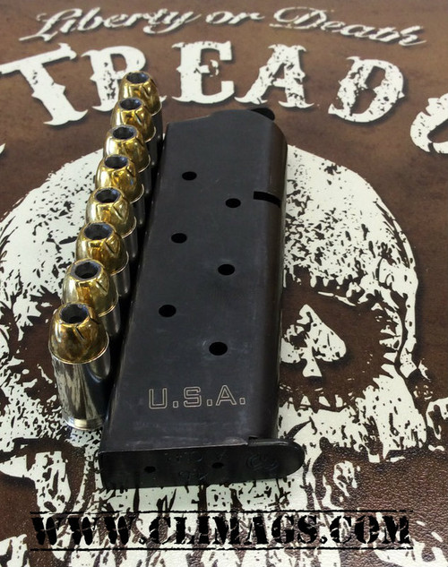 """This is a 1911 magazine for firearms chambered in .45 acp, 8 round capacity. These custom laser engraved """"USA"""" magazines are made by Metalform."""