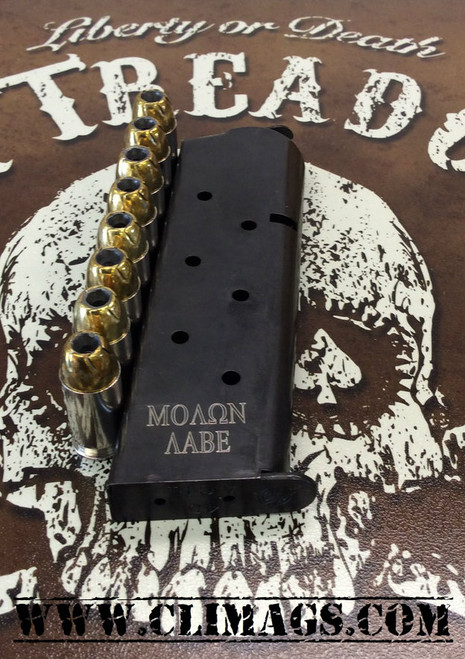 "This is a 1911 magazine for firearms chambered in .45 acp, 8 round capacity. These custom laser engraved ""Molon Aabe"" magazines are made by Metalform."
