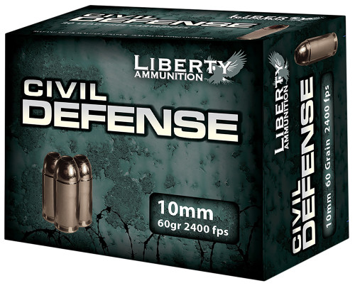 Liberty 10mm 60 Grain fragmenting hollow point, has 20 rounds per box, manufactured by Liberty Ammunition.