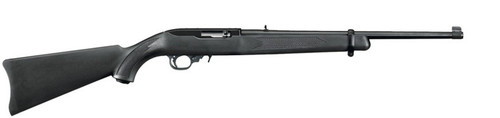 "This is a Ruger 10/22 Carbine (37""long with 18.5"" barrel) with a black synthetic stock. The barrel is finished in a satin black and is equipped with an adjustable rear sight and a gold bead front sight."