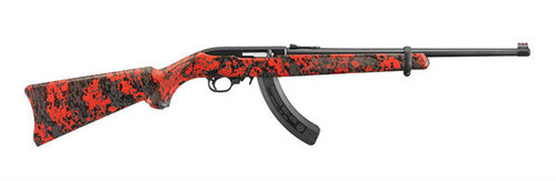 """This is a Ruger 10/22 Carbine (37""""long with 18.5"""" barrel) with a synthetic stock finished in an exclusive red and black camo pattern. The barrel is finished in a matte black and is equipped with red fiber optic rear and front sights."""