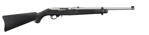 "This is a Ruger 10/22 Take Down (37""long with 18.5"" barrel) with a black synthetic stock. The barrel is finished in a clear matte stainless steel and is equipped with an adjustable rear sight and a gold bead front sight.  The receiver on this model has already been drilled/tapped and comes with a scope base adapter.  Comes with a cordura carrying case."