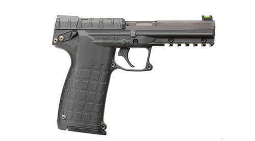This is a Kel-Tec PMR-30 chambered in .22 magnum, in the original black finish. This firearm comes equipped with fiber optic sights.