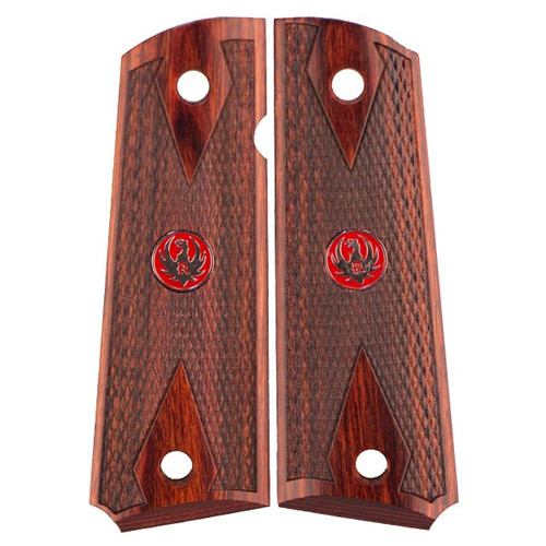 This is a pair of 1911 grips for the Government (Full-Size) 1911 frame (will fit Ruger, Colt, and many other ambidextrous cut 1911 clones ). Made in the double diamond checkered design, these rosewood grips come complete with Red Ruger Medallions.