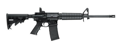 This is a Smith & Wesson M&P 15 Sport II rifle chambered in .223 rem. This model comes equipped with a Magpul M-BUS rear sight and an A2 front sight. 1-(30) round Magpul magazine ships with this firearm.