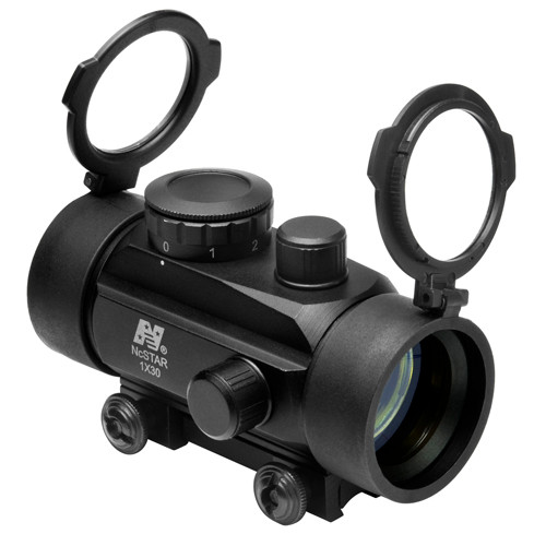 """This is a NcStar Red Dot Sight, 1x30mm. This optic is equipped with 3/8"""" dove tail base for easy mounting."""