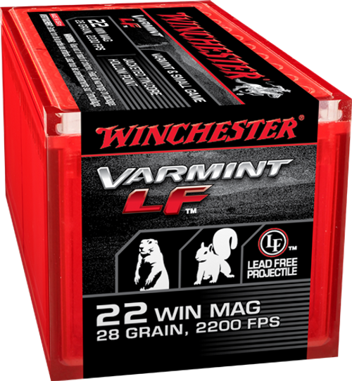 This is Winchester ammunition, .22 magnum 28 Grain jacketed hollow point (JHP) lead free (LF), it has 50 rounds per box, manufactured by Olin.