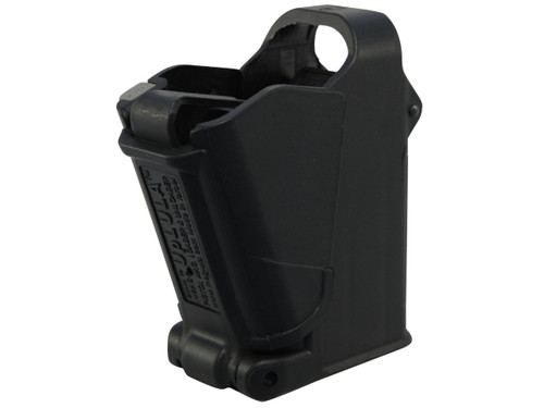 This is an universal pistol magazine loader for any magazines chambered in 9mm, 10mm, .357 sig, .40 s&w, .45 acp . Named UpLULA made by Maglula.
