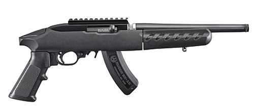 This is a Ruger Charger Take-Down chambered in .22 lr. Accepts all Ruger branded 10/22 magazines.