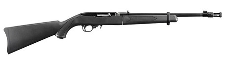 This is a Ruger 10/22 Take Down with a black synthetic stock and a threaded barrel.
