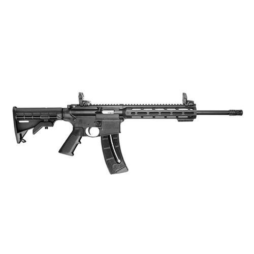 This is a Smith & Wesson M&P 15-22 Sport rifle with black furniture, chambered in .22 lr.