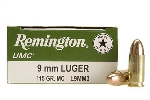 Remington UMC 9mm 115 Grain Brass MC, has 50 rounds per box, manufactured by Remington.