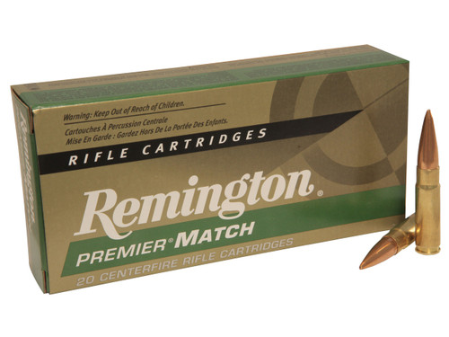 Remington Premier Match 300 Blackout 125 Grain Open Tip Match, has 20 rounds per box, manufactured by Remington.