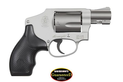 This is a Smith & Wesson 642 Centennial Airweight, .38 special revolver with satin stainless finish and a 5 shot capacity, with internal lock.