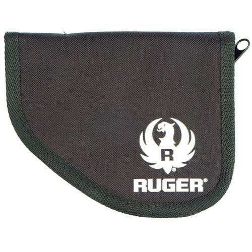 This factory Ruger compact pistol soft case, also known as a pistol rug, has a black 600D cover with white Ruger logo, a tricot lining with 5mm foam padding and a zipper pull.