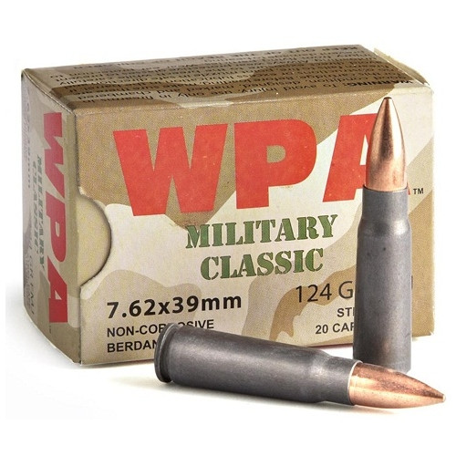 Wolf Military Classic 7.62x39mm 124 Grain FMJ (Full Metal Jacket), has 20 rounds per box, manufactured by Wolf.