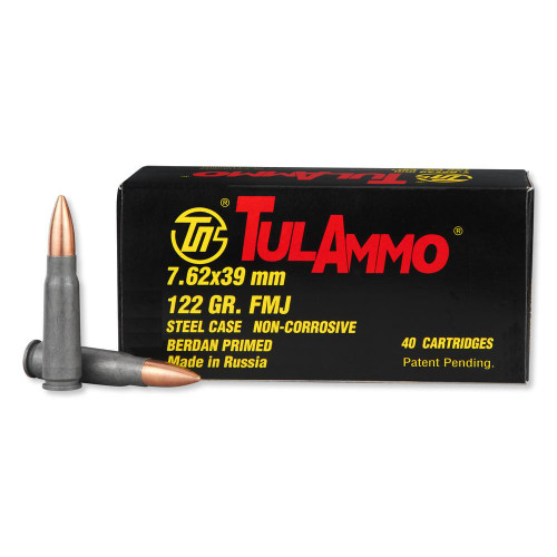 TulAmmo 7.62x39mm 124 Grain FMJ (Full Metal Jacket), has 40 rounds per box, manufactured by The Ulyanovsk Cartridge Works.