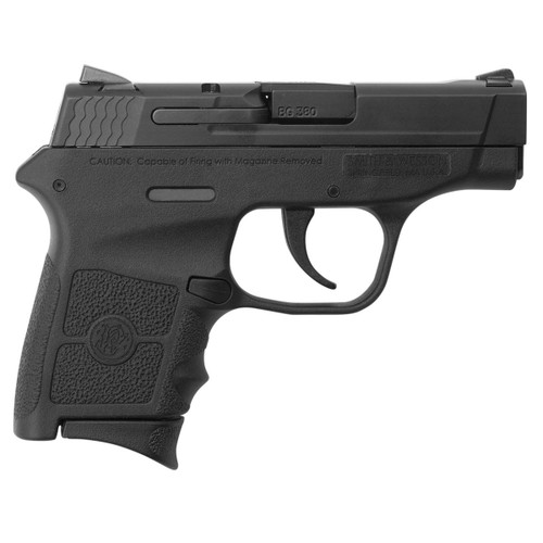 This is a Smith & Wesson Bodyguard .380 acp with no thumb safety. Great concealed carry gun weighing in at a mere 12 ounces, double action only. Comes with (2)-6 round magazines.