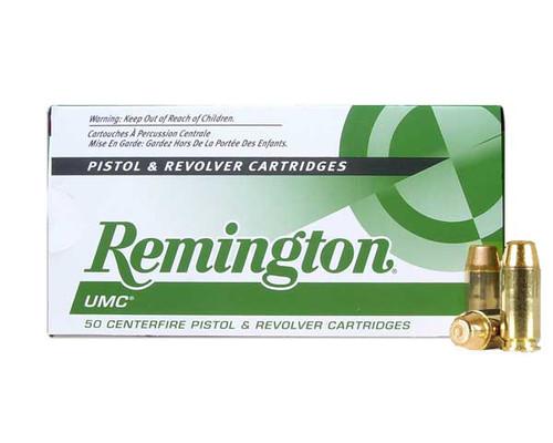 Remington UMC 40s&w 180 Grain Brass MC, has 50 rounds per box, manufactured by Remington.