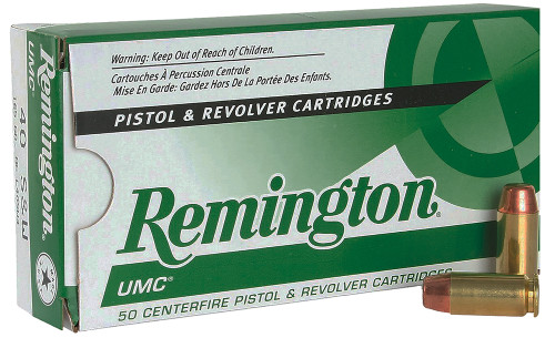 Remington UMC 40s&w 165 Grain Brass MC, has 50 rounds per box, manufactured by Remington.