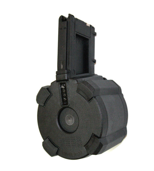 This is an AR-15 drum.223 / 5.56, solid black, called the D-60l, 60 round capacity, made by Magpul.