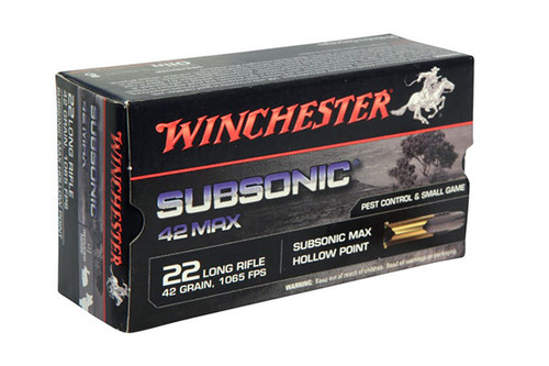 Winchester Subsonic MAX .22 long rifle 42 Grain Hollow Point, has 50 rounds per box, manufactured by Winchester.
