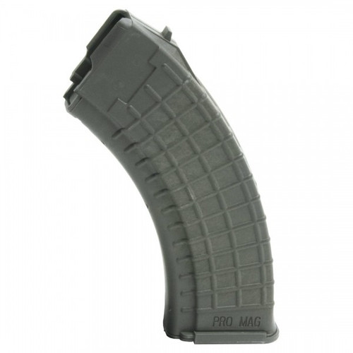 This is a polymer AK-47 magazine 7.62 x 39mm, 30 round capacity, OD Green, made by ProMag.