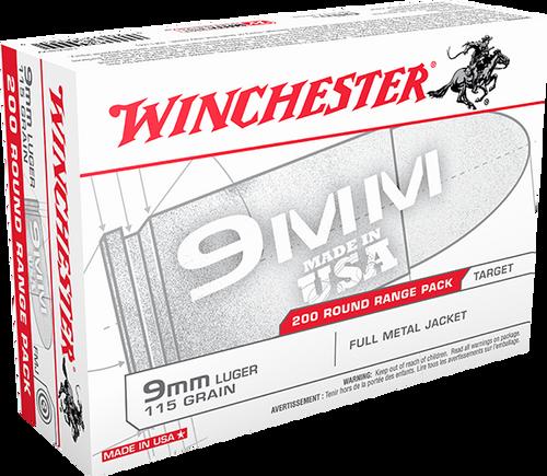 Winchester Ammunition - 9mm - 115 Grain FMJ - 200 Rounds/Box - USA9W