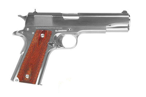 This is a Colt 1911 chambered in .38 super, full size 1991 government model, with a bright stainless steel finish. This model has a stainless steel finish and comes with (2) 9 round magazines.