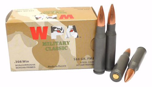This is a box of Wolf Military Classic ammunition in the .308 winchester caliber, 168 grain FMJ, 20 rounds / box.