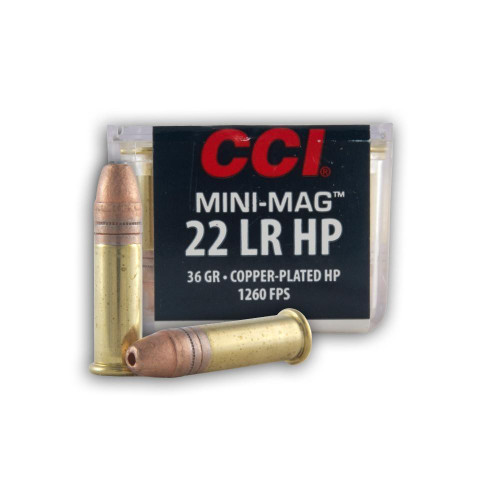 CCI Mini-Mag .22 long rifle 36 Grain Copper-Plated Hollow Point, has 100 rounds per box, manufactured by CCI.