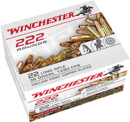 Winchester .22 long rifle 36 Grain Copper-Plated Hollow Point, has 222 rounds per box, manufactured by Winchester.